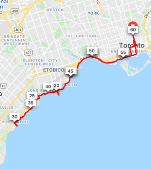Port Credit  60 km