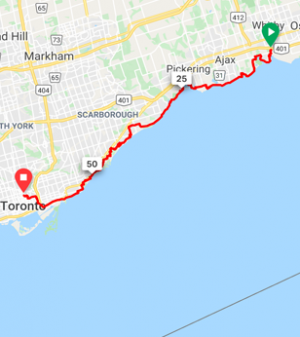Whitby to Toronto  65 km