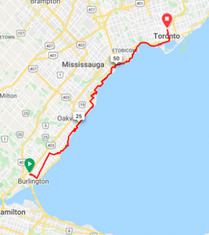 Burlington to Toronto  71 km
