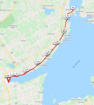 Barrie to Orillia  82 km