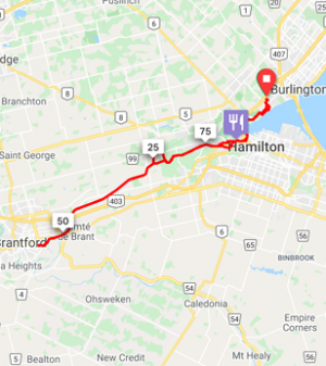 Burlington to Brantford  90 km