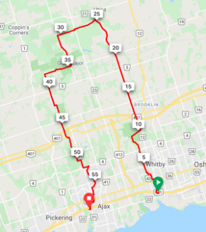 Whitby to Ajax (via Utica)  59 km