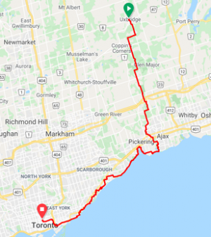 Uxbridge to Toronto (2 routes)  83 or 93 km